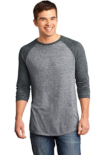 Heathered Raglan T-shirt (District Men's Young Microburn 3/4 Sleeve Raglan Tee M Black/ Heathered Nickel)