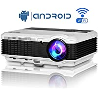 Wifi TV 1080P Projector LED Android Wireless Airplay for iPhone iPad Laptop Tablet Smartphone 3600 lumens Home Theater Video Projector with HDMI USB VGA AV Speakers HDMI Cable for DVD PC XBOX PS3