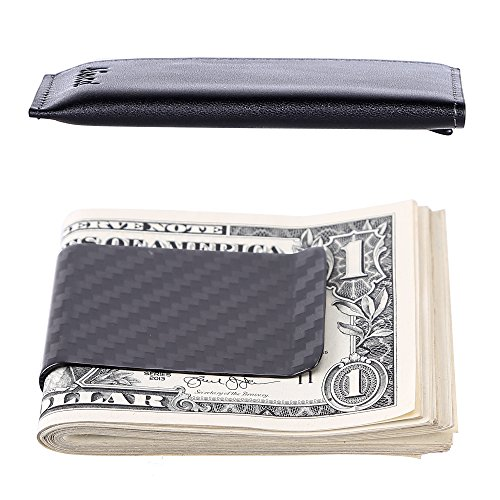 Kinzd Carbon Fiber Money Clip Wallet, Card Case, Secure RFID Blocking