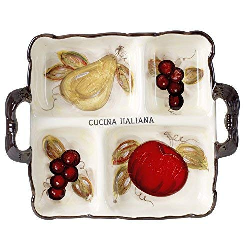 Classic Cucina Italiana Ceramic 4 Section Serving Tray with Handles Off-White Fruit Decor