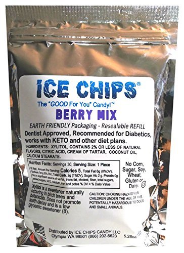 ICE CHIPS Birchwood Xylitol Candy in Large 5.28 oz Resealable Pouch; Low Carb & Gluten Free (Berry)