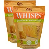 2 Pack Cello Artisan Cheese Makers WHISPS Pure Parmesan Cheese Crisps, 9g of Protein per serving, No Sugar, Very Low Carb Snack - Large 9.5 oz Resealable Bag