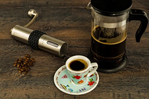 Manual Coffee Grinder Conical Burr | Burr Coffee Grinder | Coffee Bean Grinder, Hand Mill Ceramic Burr Grinder for French Press K cup Hand Crank Coffee Bean Traveling Backpacking by Oxifame