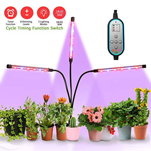 (Plant Grow Light, Lamp for Plants, Three Head Gooseneck Timing 36W, 18 LED Bulbs Timing Plant Grow Lamp with Red and Blue Spectrum, 8 Dimmable Levels, 4/8/12 H Timer)