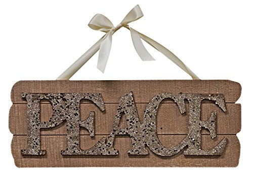 """CWI Gifts 15.5"""" x 6"""" Peace Glitter Wooden Sign with Ribbon Hanger"""