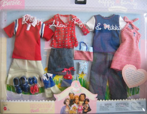 Barbie Happy Family Fashions - Red & Blue Fashion Clothes For Midge, Alan, Ryan & Nikki Dolls (2003) by Unknown