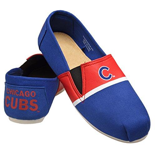 FOCO MLB Chicago Cubs Men's Canvas Stripe Shoes, X-Large (13-14), Blue