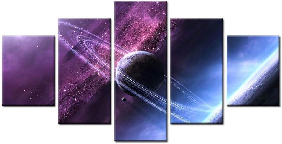 mmwin 5 Unidades HD Imprimir Anillos de Saturno Imagen de Space Dawn para Moderno Dormitorio Decorativo Sala de Estar Decoración de Pared Arte: Amazon.es: Hogar