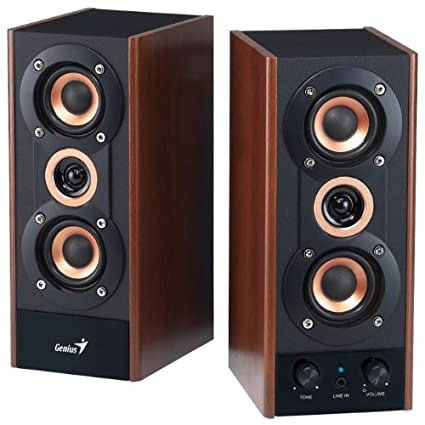 amazon com genius 3 way hi fi wood speakers for pc, mp3 players