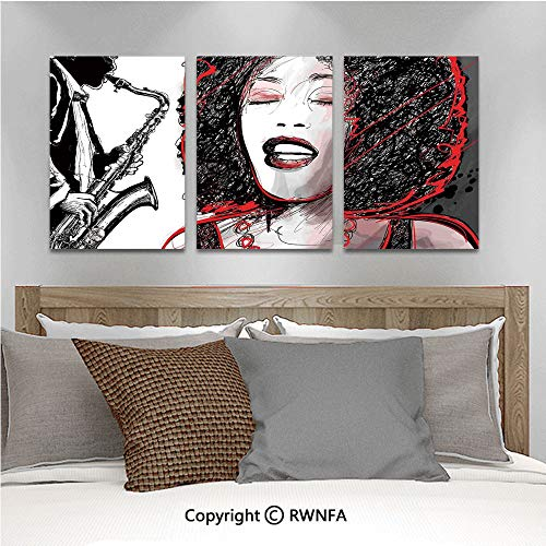 3Pc Creative Wall Stickers African American Girl Singing with Saxophone Player Popular Sound Design Bedroom Kids Room Nursery Dinning Wall Decals Removable Art Murals,19.7
