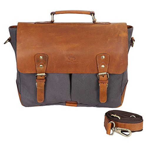 RusticTown Handmade Leather Canvas Vintage Crossbody Messenger Bag Gift Men Women Travel Work ~ Carry Laptop Computer Books ~ Everyday Office College School Satchel 15 inch by RusticTown