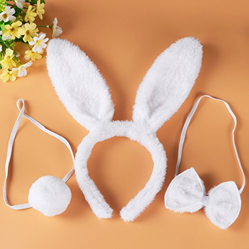 White TINKSKY Bunny Cosplay Set Rabbit Costume Accessory Cute Ears Headband Tail Bow Tie for Party Cosplay Costume,Pack of 3