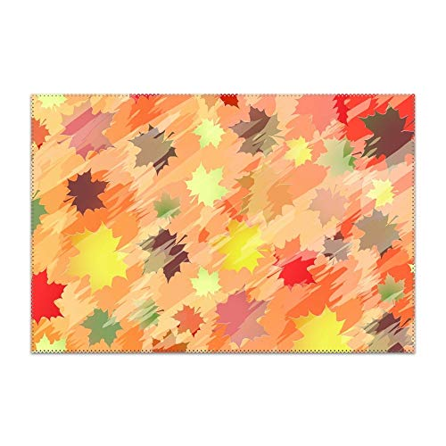 Kerr Juliet Non-Slip Insulation Colorful Background with Maple Leaves Placemat Washable Table Mats Easy to Clean ()