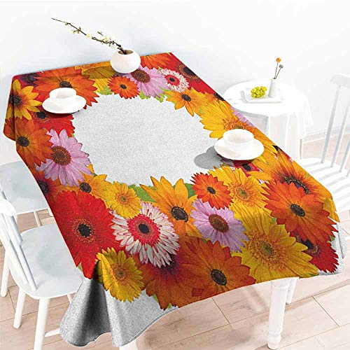 Willsd Tablecloth for Kids/Childrens,Letter O Alphabet Themed ABC of Natural World Letter O with Daisies Colors of The Summer,Party Decorations Table Cover Cloth,W54x90L Multicolor -
