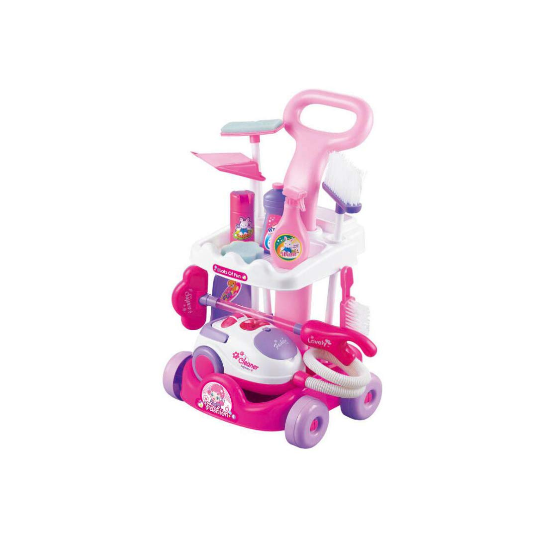 SXZHSM-Intellectual development toy Children's Play House Cleaning Car Set Simulation Cart Cleaning Tool Vacuum Cleaner Small Household Appliances Toy 29x27x51cm