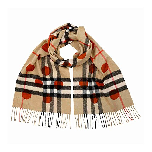 Burberry Classic Cashmere Scarf in Check and Dots - Burnt Orange