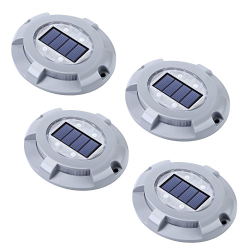 Siedinlar Solar Deck Lights 4 LED Deck Driveway Light Waterproof Path Road Solar Lights Step Lights for Outdoor Pathway Stairs Garden Patio Yard (4 Pack)
