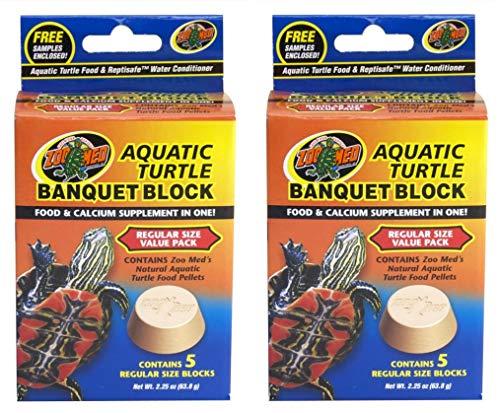 Zoo Med 2 Pack of Aquatic Turtle Banquet Block Value Packs, Regular Size, 10 Blocks Total, Food and Calcium Supplement  ()