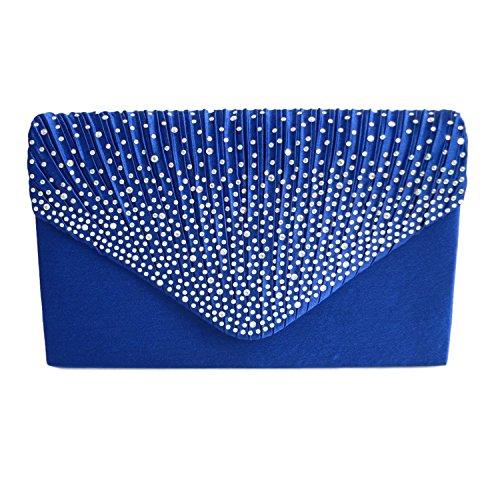 Ladies Evening bags Brand Royal Bridal Bag Wedding Handbag Party Blue New 5pxwwCq6ES
