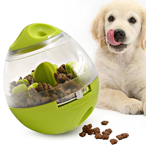 (Lefon Dog Treat Ball, Dog Treat Dispenser Ball Interactive Dog Food Ball Increases IQ Pet food toy for Training Playing Chewing(3.9In x 4.6In))