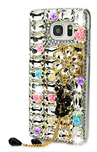 Pendant Mission Dust - STENES Galaxy J3 Emerge Case - 3D Handmade Luxury Crystal Big Flowers Pendant Flowers Sparkle Rhinestone Design Cover Bling Case For Samsung Galaxy J3 Emerge Retro Bows Anti Dust Plug - White