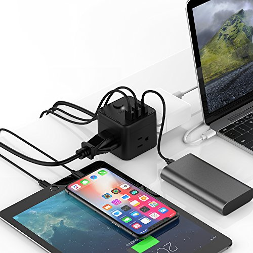 Portable Cube Power Strip with 3 USB Port & Switch Control, 3 Outlet Charging Station with 5 Ft Extension Cord for Nightstand & Desktop & Travel - Black by TESSAN (Image #5)