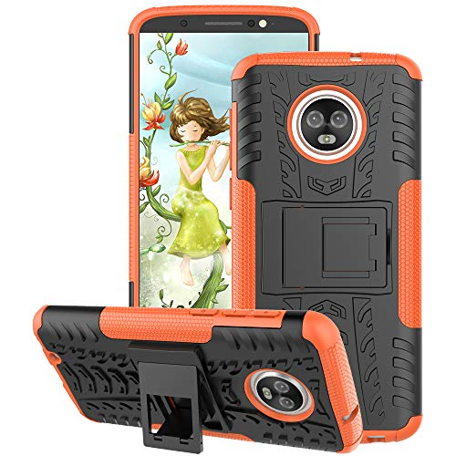 Motorola Moto G6 Case 2018, GSDCB Air Cushion Heavy Duty Shockproof Phone Stand Protective Case with Kickstand Hard PC Back Cover Soft TPU Dual Layer Protection for Women Men Girls Kids Boys (Orange)