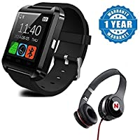 Drumstone U8 Bluetooth Smart Notification Wrist Watch with Mega Bass Headphone Works with All Android or iPhone Devices (Colour May Vary)