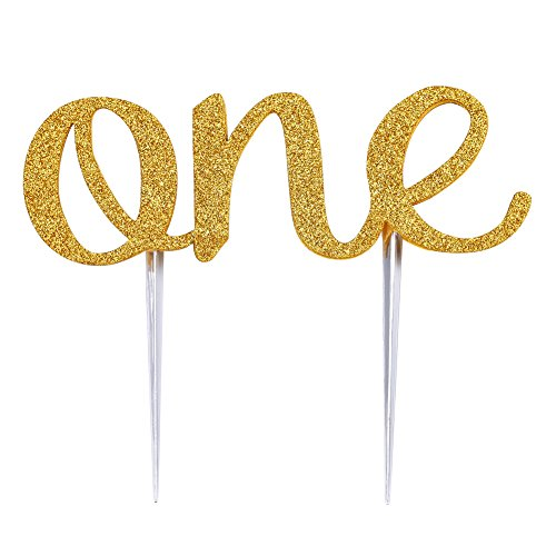 Haperlare Handmade Baby 1st First Birthday Cake Topper Gold ONE Cake Topper Double Sided Gold Glitter Decoration