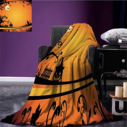 RenteriaDecor Vintage Halloween Throw Blanket Halloween Themed Image Eerie Atmosphere Gravestone Evil Pumpkin Moon Oversized Travel Throw Cover Blanket Orange Black Bed or Couch 50