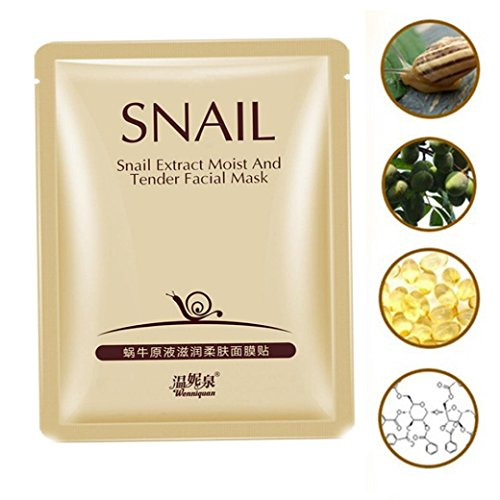 Price comparison product image Ourhomer Facial Mask Acne Whitening New Snail Extract Anti-Wrinkle Eye Bag Hyaluronic Acid Dark Circle Facial Mask (Gold)