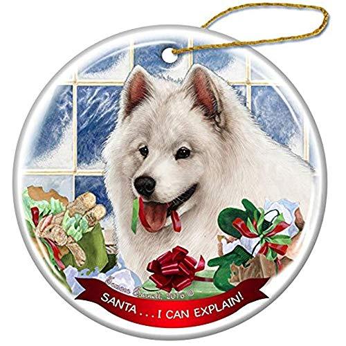 (Cheyan Samoyed Dog Porcelain Hanging Ornament Pet Gift Santa I Can Explain for Christmas Tree and Year Round)