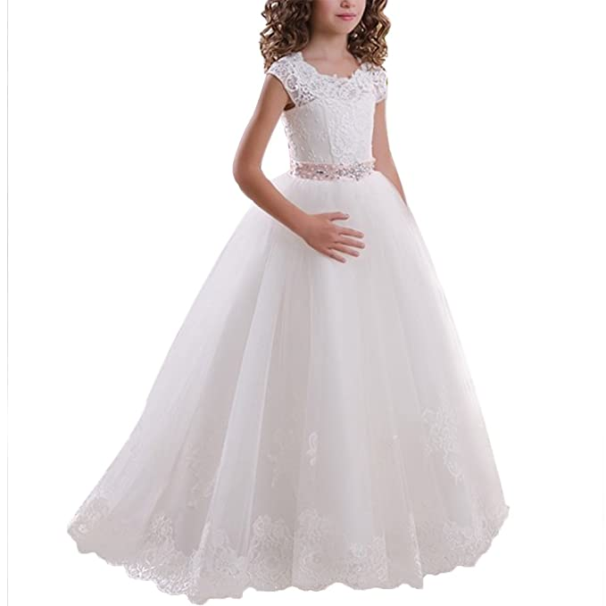 Flower Girls Wedding Bridesmaid Dress Lace Applique Embroidered Princess  Communion Floor Length Layered Puffy Tulle Dresses Pageant Birthday Formal  Evening ... c1551bdf22ef