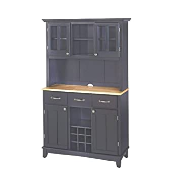 ghy Farmhouse Buffet Cabinet Black Hardwood Large Natural Wood Top Hutch  Adjustable Shelf Drawers Wine Rack Kitchen Dining Traditional & eBook by ...