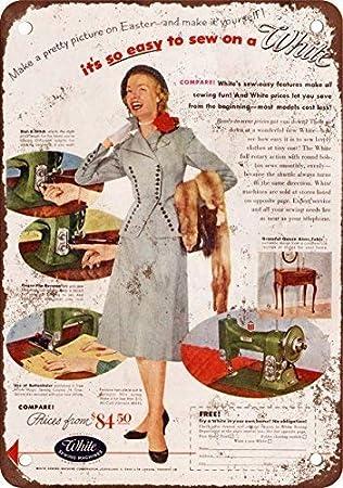 1952 Blanco Máquinas de Coser clásico Look reproducción Metal Tin Sign 20.3 x 30.5 cm