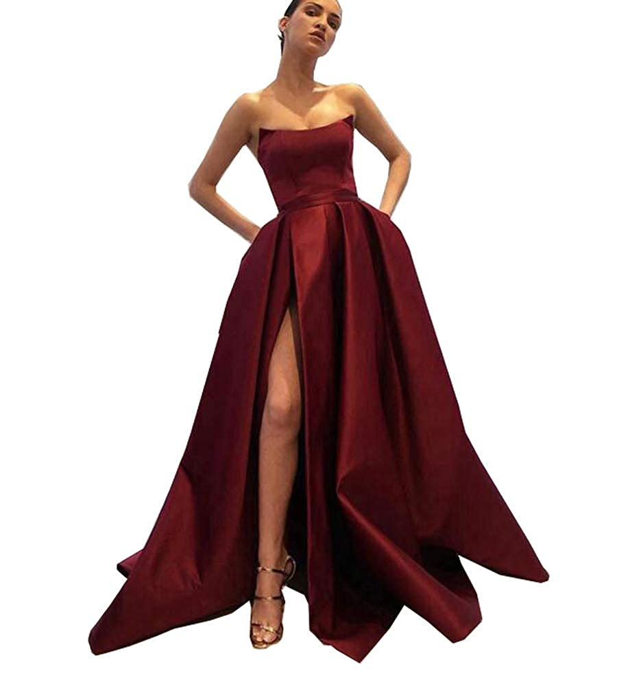 2style Burgundy MariRobe Women's High Split Evening Dress Deep V Neck Prom Gown Long Sleeve Party Gown