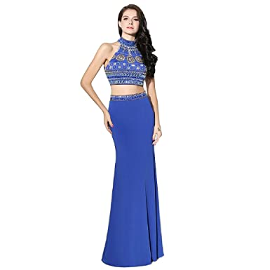 Wishopping Womens Long 2 Piece Mermaid Prom Dress Evening Gown Royal Blue Size 16