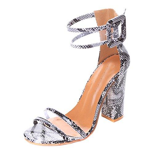 Lalang Femme À Talons Hauts Chaussures Sandales Ouverts Sangle Cheville Gris