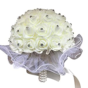 Dds5391 New Wedding Party Rhinestone Bouquet Bride Bridesmaid Lace Artificial Flower Wand - Rose Red 81