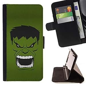 BullDog Case - FOR/LG G3 / - / Green Evil Face /- Monedero de cuero de la PU Llevar cubierta de la caja con el ID Credit Card Slots Flip funda de cuer