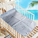 Baby Summer Sleeping Mat Breathable Safe Cool Bamboo Silk Flat Mattress Pads Toddler Infant Folding Bedding Cushion Crib Cot Cozy Nap Pads (Light Blue)
