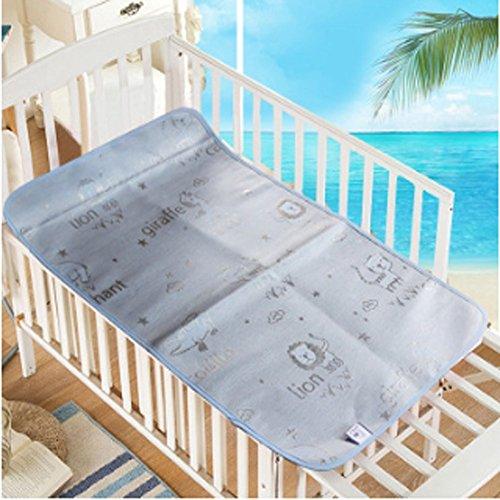 Baby Summer Sleeping Mat Breathable Safe Cool Bamboo Silk Flat Mattress Pads Toddler Infant Folding Bedding Cushion Crib Cot Cozy Nap Pads (Light Blue)