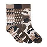 Ivory + Mason 3 Pair Dress Socks for Men - Colorful - Size 10-13 (Tan Brown and White)