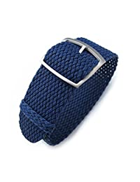 22mm MiLTAT Perlon Watch Strap, Braided Nylon Dark Blue, Sandblasted Ladder Lock Buckle