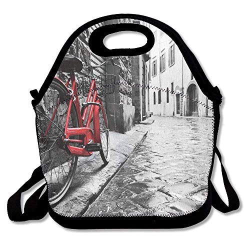 Charm Italian Fruit (Cvhtr3m Bicycle Classic Bike On Cobblestone Street in Italian Town Leisure Charm Artistic Best Portable Funny Lunchbox Lunch Tote Lunch Bag)