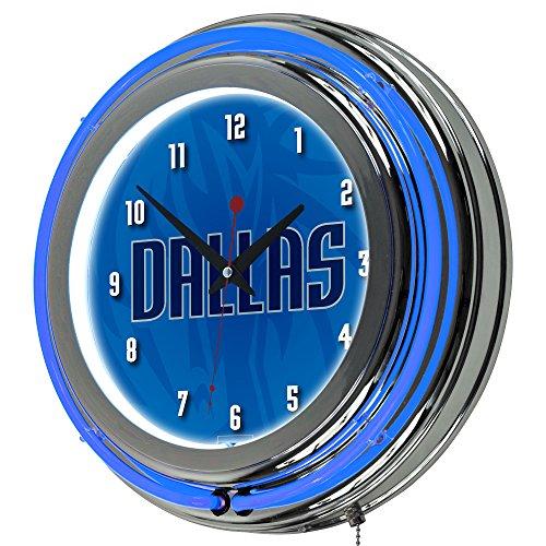 Trademark Gameroom NBA1400-DM2 NBA Chrome Double Rung Neon Clock - Fade - Dallas Mavericks