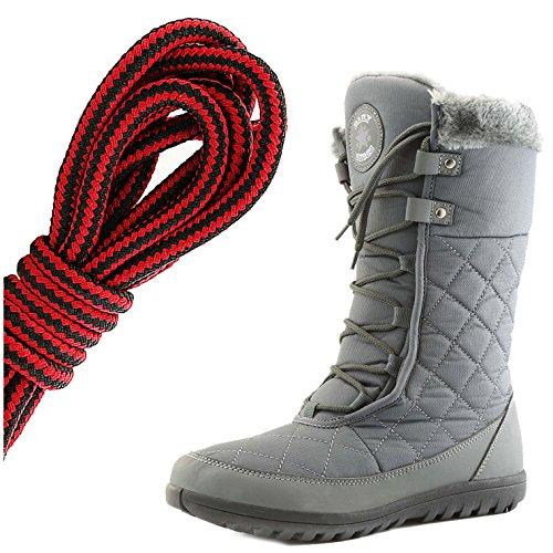 Dailyshoes Confort Des Femmes Bout Rond Mi-mollet Cheville Plat Haute Eskimo Fourrure Dhiver Bottes De Neige, Noir Rouge Gris
