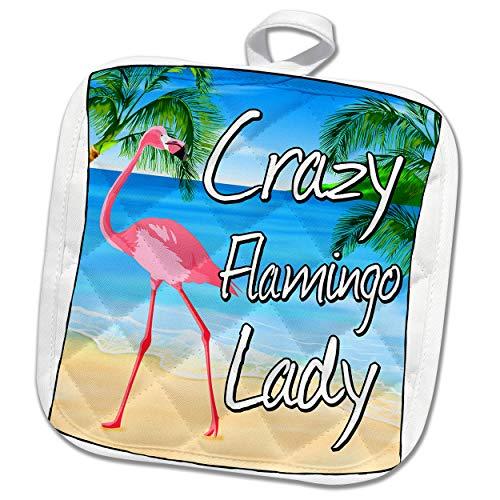 3dRose MacDonald Creative Studios - Flamingo - Crazy Flamingo Lady for anyone who is crazy about Flamingos. - 8x8 Potholder (phl_291869_1)