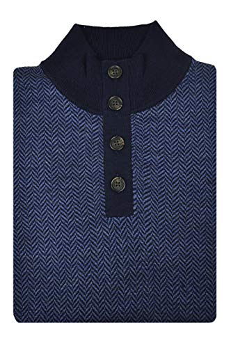 Brooks Brothers Men's Merino Wool Blend Button Up Mockneck Collar Sweater Navy Blue (Medium)