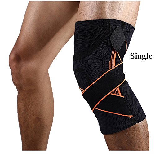Black Knee Compression Sleeve Support for Sports, Joint Pain Relief, Arthritis and Injury Recovery-Single Wrap